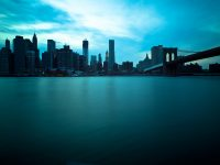 Brooklyn Bridge and Manhattan Skyline, New York City. Long expos